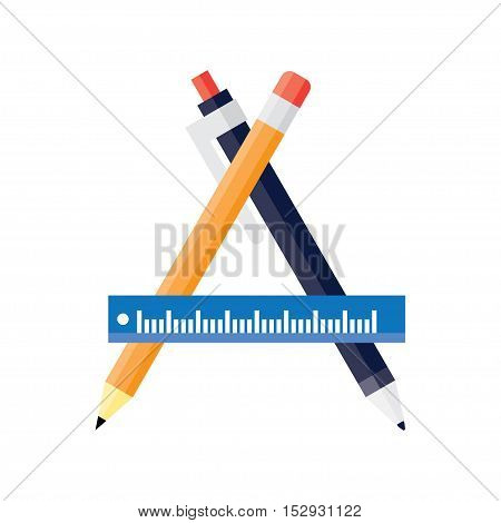 Design and development concepts drawing project sketching object working instruments. Flat vector illustration.
