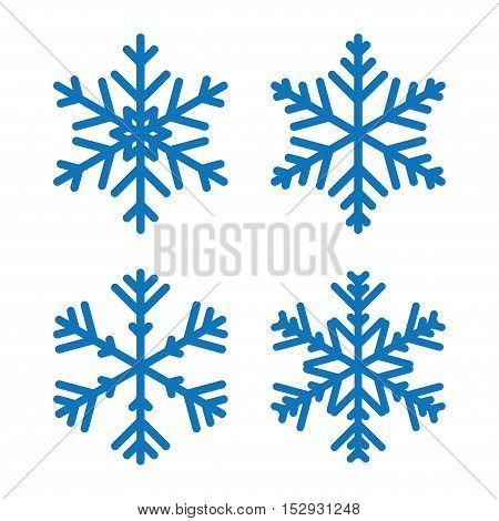 winter snowflakes set for Christmas design. Flat vector illustration