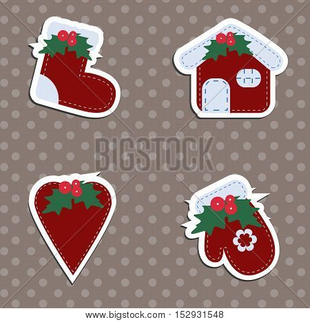 A set of children's Christmas stickers. New year collection of label templates and decals for decorating greeting or gift. There are mittens socks heart and home. Baby vector illustration.