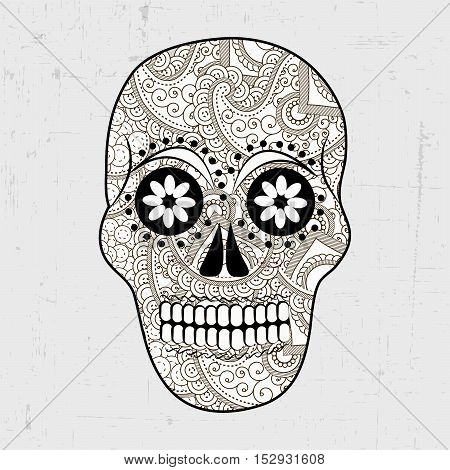 Illustration of floral skull for Day of the Dead