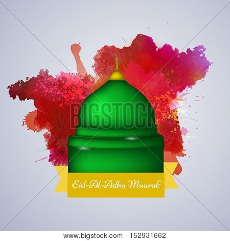 Illustration of mosque with color splash for Eid