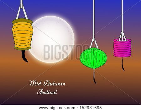 Illustration of hanging lamps for Mid-Autumn festival