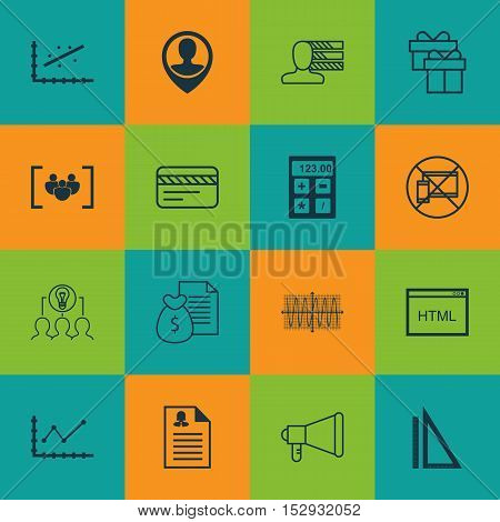 Set Of 16 Universal Editable Icons For Travel, Marketing And Transportation Topics. Includes Icons S