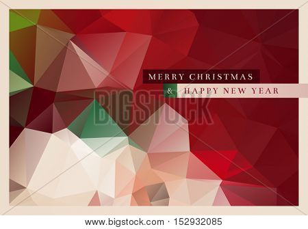 Vector Christmas greeting card design with abstract polygonal background.