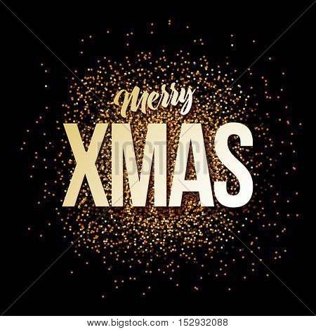 Vector Christmas greeting card. Merry Xmas message gold sparkles on black background.