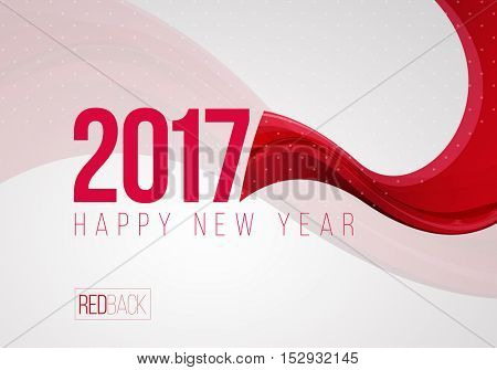 Happy New Year 2017 greeting card design. Smooth wavy red and white vector abstract background. With copy space.