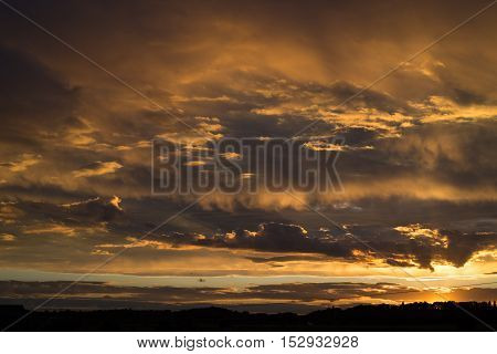 Beautiful landscape with sunset sky after storm