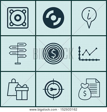 Set Of 9 Universal Editable Icons For Statistics, Computer Hardware And Traveling Topics. Includes I