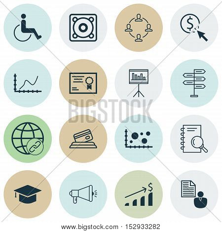 Set Of 16 Universal Editable Icons For Management, Marketing And Seo Topics. Includes Icons Such As