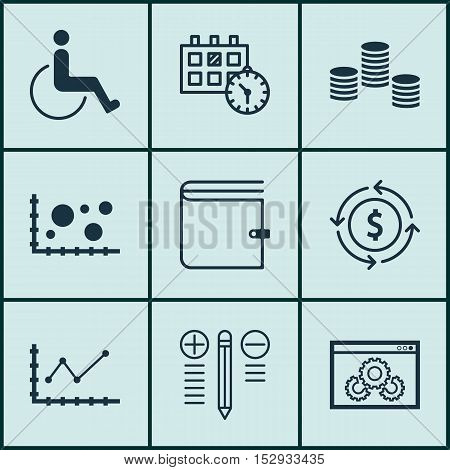 Set Of 9 Universal Editable Icons For Advertising, Project Management And Transportation Topics. Inc
