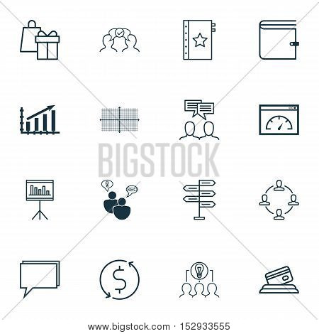Set Of 16 Universal Editable Icons For Marketing, Travel And Advertising Topics. Includes Icons Such