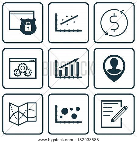 Set Of 9 Universal Editable Icons For Statistics, Advertising And Hr Topics. Includes Icons Such As