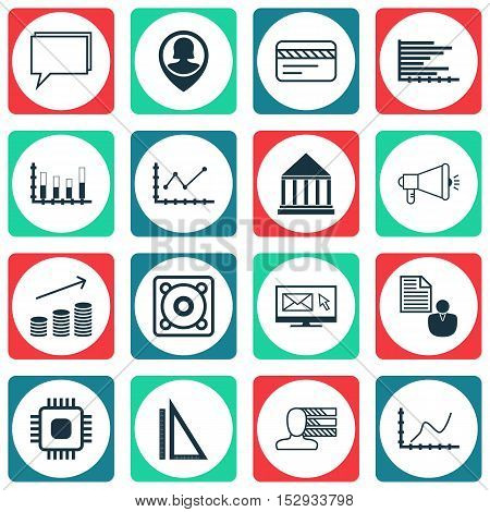 Set Of 16 Universal Editable Icons For Project Management, Hr And Seo Topics. Includes Icons Such As