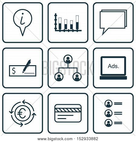 Set Of 9 Universal Editable Icons For Statistics, Hr And Advertising Topics. Includes Icons Such As