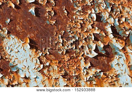 Rusted Metallic Surface And Flaky Paint