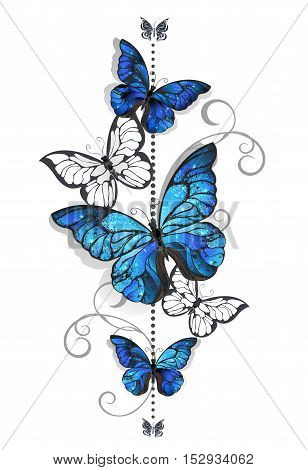 Composition of blue butterflies morpho and white butterflies on a white background. Morpho. Design with blue butterflies morpho.