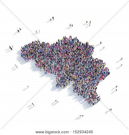 Large and creative group of people gathered together in the form of a map Belgium, a map of the world. 3D illustration, isolated against a white background. 3D-rendering.