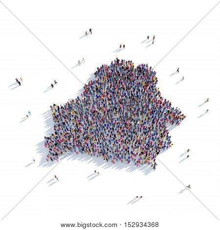 Large and creative group of people gathered together in the form of a map Belarus, a map of the world. 3D illustration, isolated against a white background. 3D-rendering.