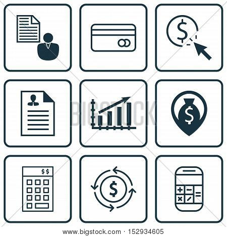 Set Of 9 Universal Editable Icons For Travel, Advertising And Statistics Topics. Includes Icons Such