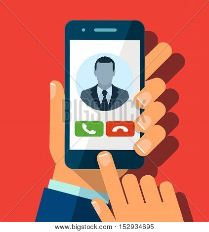 Receiving phone call. Businessman hand holding a phone with interface on a screen. Vector illustration. Flat style