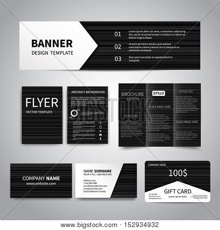 Banner, flyers, brochure, business cards, gift card design templates set with black geometric striped background. Corporate Identity set, Advertising flyers, banner, cards, promotion printing