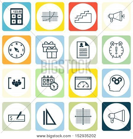Set Of 16 Universal Editable Icons For Advertising, Management And School Topics. Includes Icons Suc