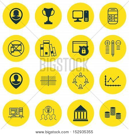Set Of 16 Universal Editable Icons For School, Human Resources And Education Topics. Includes Icons