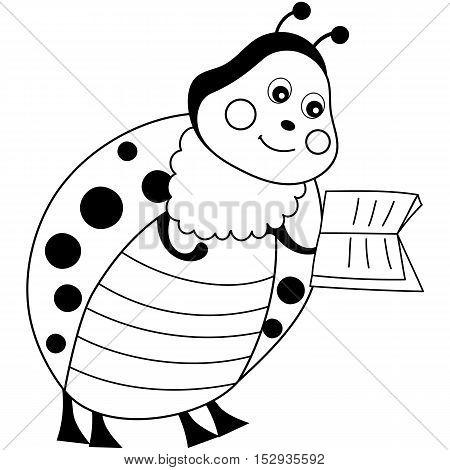 Vector cartoon cute black and white ladybug