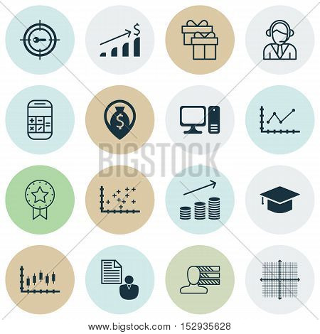 Set Of 16 Universal Editable Icons For Statistics, School And Travel Topics. Includes Icons Such As