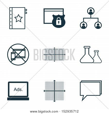 Set Of 9 Universal Editable Icons For Education, Advertising And Travel Topics. Includes Icons Such