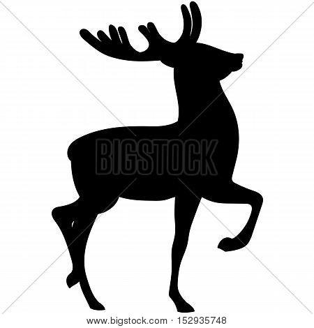 Vector black elegant woodland deer hand drawing silhouette