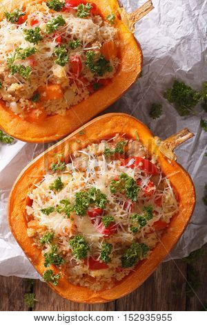 Baked Pumpkin Stuffed With Couscous, Meat And Vegetables Close-up. Vertical Top View