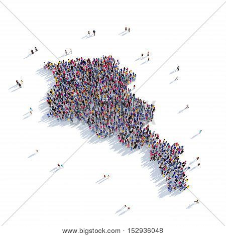 Large and creative group of people gathered together in the form of a map Armenia, a map of the world. 3D illustration, isolated against a white background. 3D-rendering.