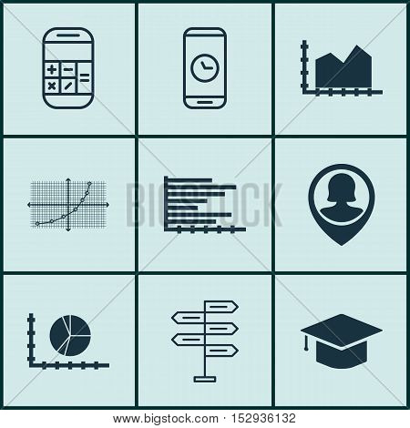 Set Of 9 Universal Editable Icons For Management, Statistics And School Topics. Includes Icons Such