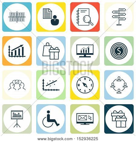 Set Of 16 Universal Editable Icons For Airport, Traveling And Marketing Topics. Includes Icons Such