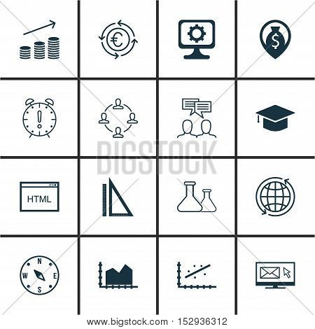 Set Of 16 Universal Editable Icons For Human Resources, Management And Statistics Topics. Includes I