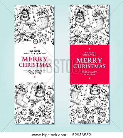 Christmas banner. Vector hand drawn illustration Xmas plants and symbols. Holiday engraved decorations. Holly, mistletoe, sock, stocking, poinsettia, gift, gingerbread man fir tree. Holiday label