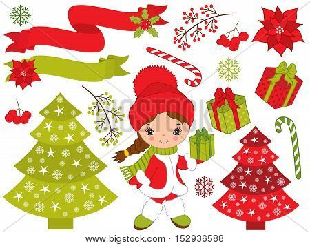 Vector Christmas set with little girl, tree, gift boxes, poinsettia
