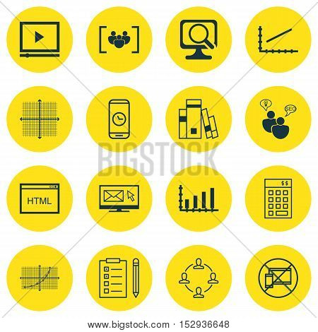 Set Of 16 Universal Editable Icons For Statistics, School And Seo Topics. Includes Icons Such As Que