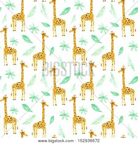 Seamless pattern with yellow giraffe and foliage.Watercolor hand drawn illustration.White background.Animals illustration.