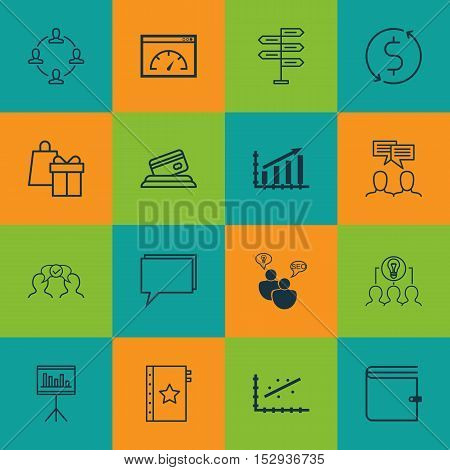 Set Of 16 Universal Editable Icons For Project Management, Business Management And Hr Topics. Includ