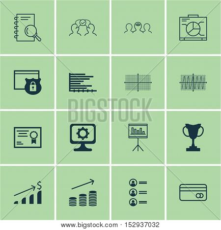 Set Of 16 Universal Editable Icons For Human Resources, Business Management And Statistics Topics. I