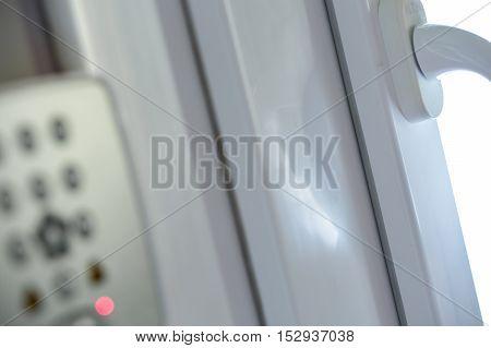 front view of Security alarm keypad closeup