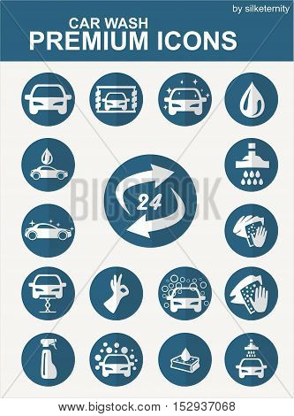 Car icon set wash automobile blue grey background