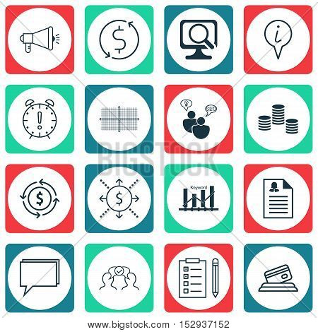 Set Of 16 Universal Editable Icons For Statistics, Seo And Traveling Topics. Includes Icons Such As