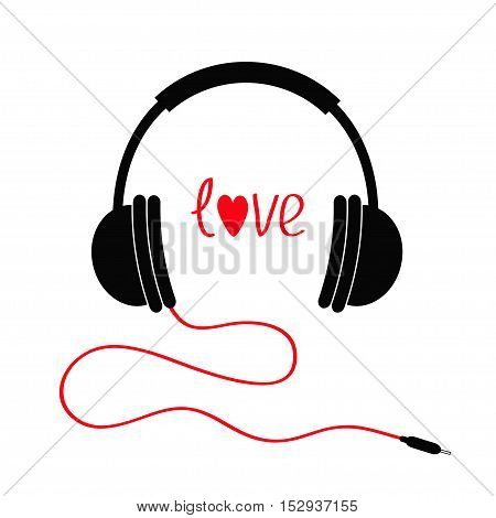 Headphones with cord. Love card. Red text heart. Flat design icon. White background Isolated Vector illustration