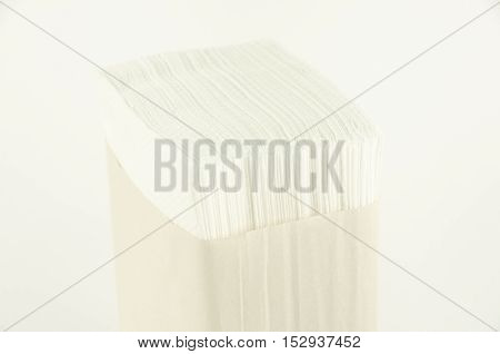Paper napkins. Stand. Horizontal photo, white background