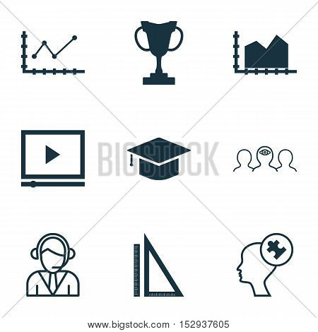 Set Of 9 Universal Editable Icons For Seo, School And Transportation Topics. Includes Icons Such As