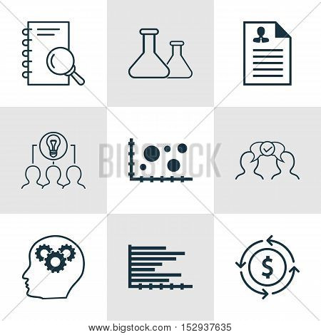 Set Of 9 Universal Editable Icons For Statistics, Education And Tourism Topics. Includes Icons Such