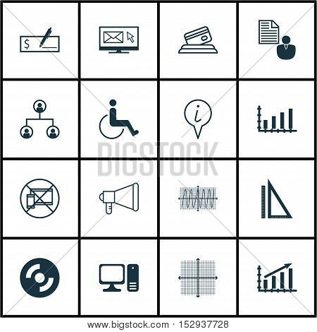 Set Of 16 Universal Editable Icons For Computer Hardware, Marketing And Traveling Topics. Includes I